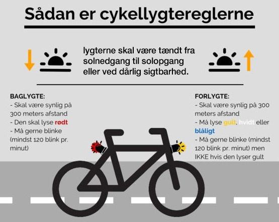 Lygtetid - hvornår skal cykellygterne tændes ➤ Live opdatering!